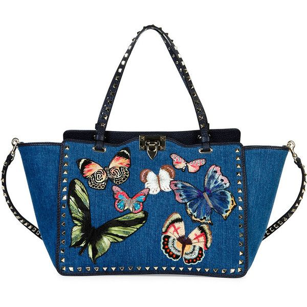 Valentino Butterfly Rockstud Denim Tote Bag (9.285 BRL) ❤ liked on Polyvore featuring bags, handbags, tote bags, navy, denim tote bag, embroidered tote bags, tote purses, butterfly tote and embroidered totes