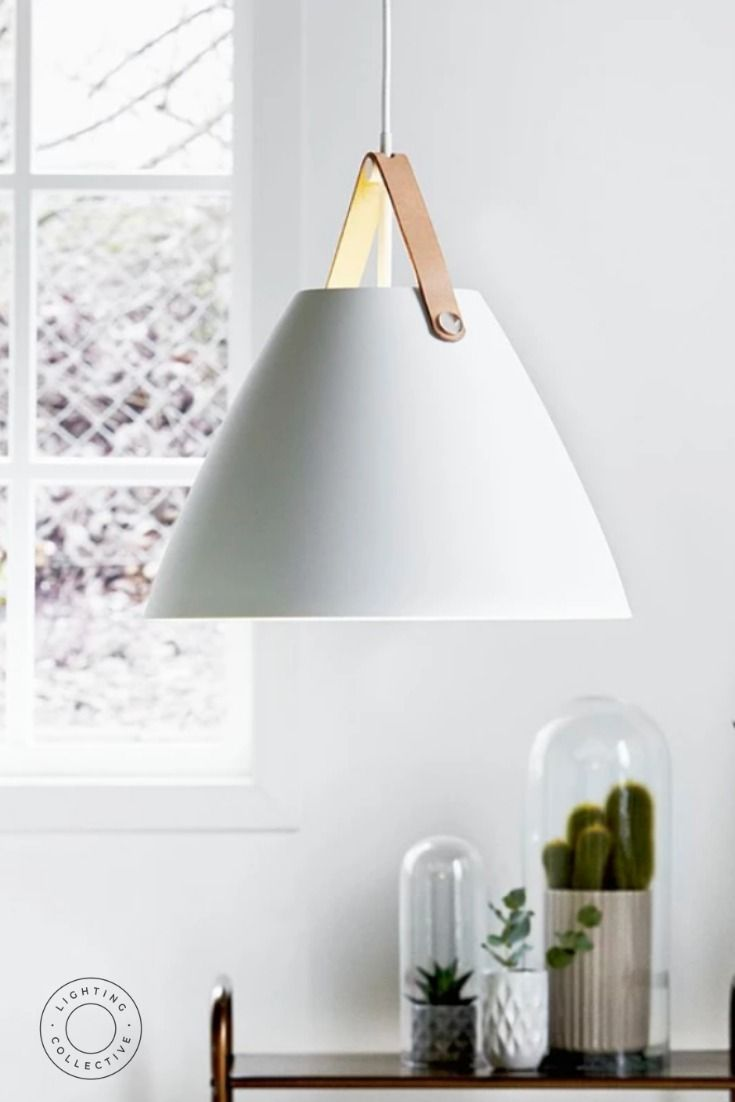 Minimal Danish designed pendant light available in three great sizes. This piece comes supplied with two different coloured leather straps to help you achieve the right look for your space. #lights #pendantlighting #lightingdesign  #kitchenpendant #nordicliving #nordicdesign #nordicstyle #danishdesign #danishstyle #interiorstyling #interiordesign #interiordecor #homeinspo  #homestyle  #Scandinavianlivingroom #Scandinaviandesign #Scandinavianinterior