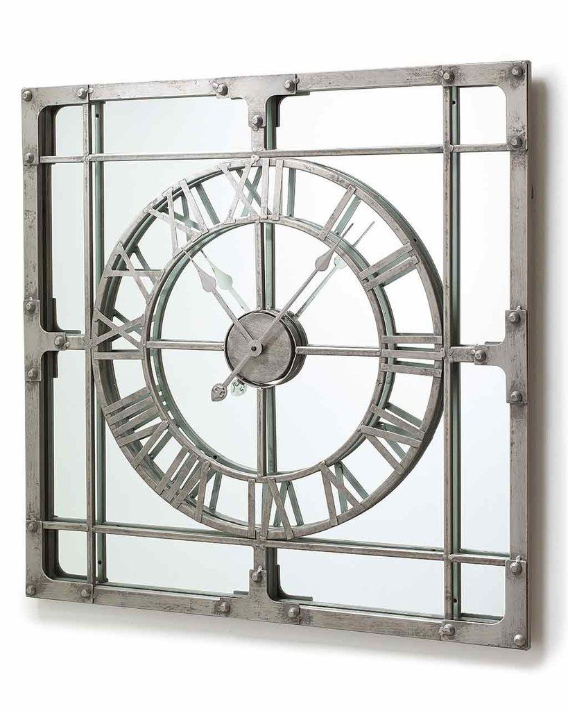 Mirrored Wall Clock mirrordeco — wall clock with mirror - large h:77cm | relojes