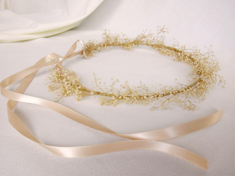 Bridal hair accessories babys breath - Beach Wedding Bridal Hair Accessory Wedding Headpiece Floral Hair Wreath Babys Breath Ivory Head