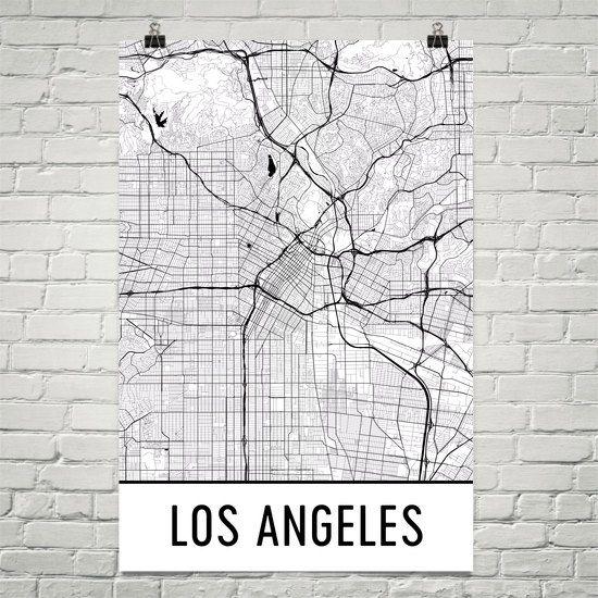Los Angeles Map Art Print Los Angeles CA Art Poster Los Angeles