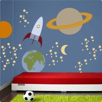 Bringen Sie Den Weltraum In Das Zimmer Ihres Kindes Mit Dem Tollen  Wandsticker Set Weltraum U0026 Rakete Und Lassen Sie Kinderaugen Vor Freude  Leuchten!