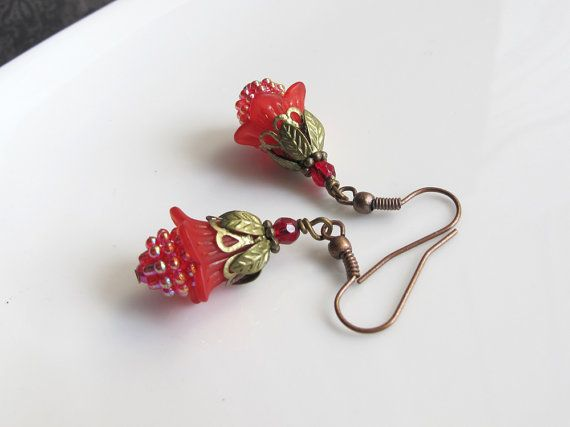 Rasberry Red Lucite Flower Earrings. Nature Inspired Dangle Drop Antiqued Copper Cherry Ear Jewelry