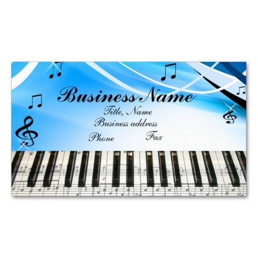 Music Notes Piano Keyboard Business Card  Music Notes Business