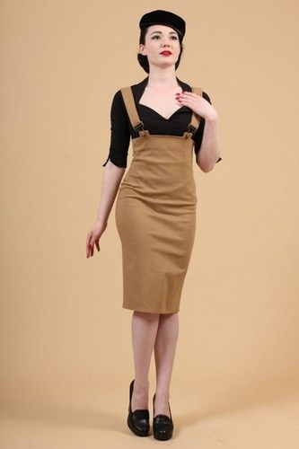 3bf38649206 Pinup 50 s Vintage Design High Waist Camel Army Pencil Skirt with Suspenders