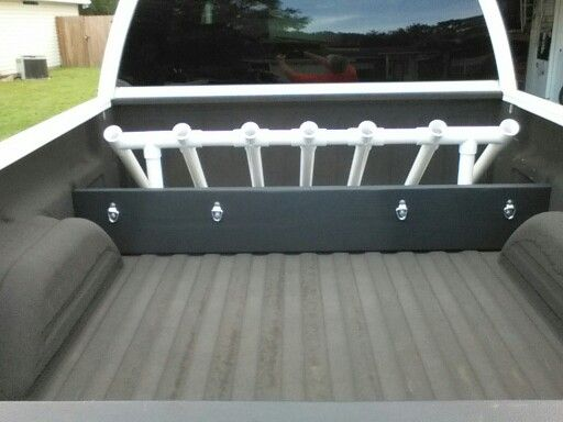 Custom made surf fishing rod holder for truck and cargo for Truck bed fishing rod holder