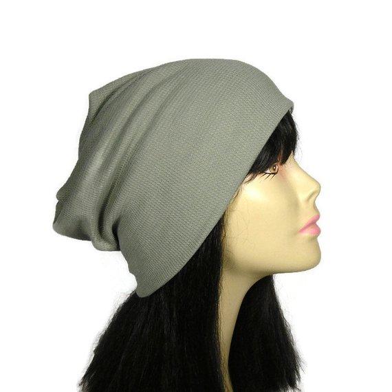 0e420ee0b24 FREE SHIPPING 100% Cotton Beanie Green Waffle Knit Slouchy Beanie Light  Gray Waffle Knit Slouch Hat