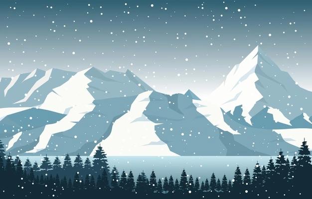 Winter Snow Pine Mountain Lake Snowfall Nature Landscape Illustration In 2021 Pine Mountain Lake Pine Mountain Landscape Illustration