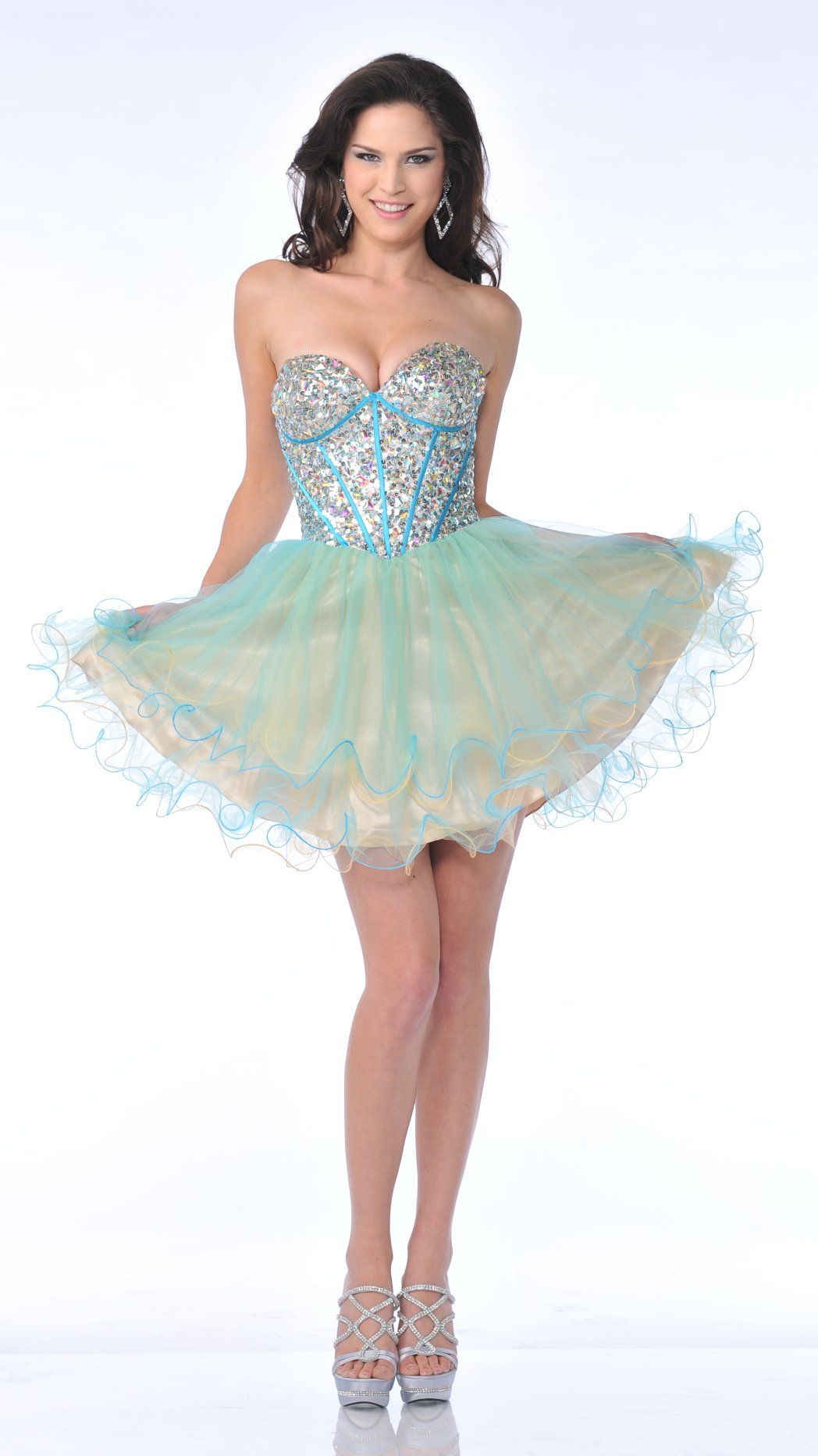 fb27683949a5 Turquoise/Yellow Poofy Homecoming Dress Strapless Sexy Corset Rhinestone  $207.99