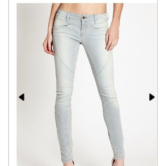 Conductor style pin stripe skinny jeans. Available on poshmark...shop my closet @doitlikedonna