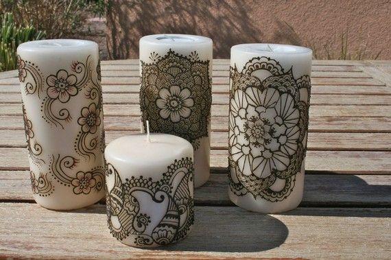 Henna Candle by RedwoodHenna on Etsy, $20.00  henna nights- kina gecesi dekorasyon masa mum