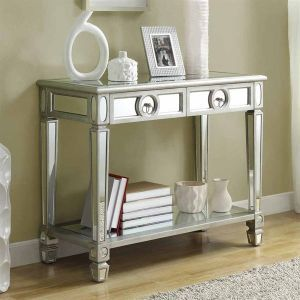 Monarch Specialties 3700 Mirrored Two Drawer Sofa Table | More here: http://mylusciouslife.com/luscious-bedrooms/