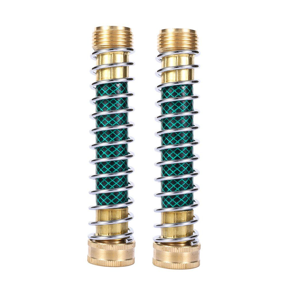 Maofa Garden Hose Coiled Spring Protector With Solid Brass Faucet Hoses Coupling Adapter Extension 2pcs 2pieces Continue Garden Hose Lawn Care Brass Faucet