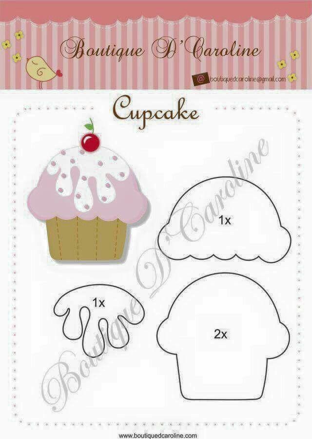 Patron Cupcakes Moldes De Cupcakes Cupcakes De Fieltro Manualidades