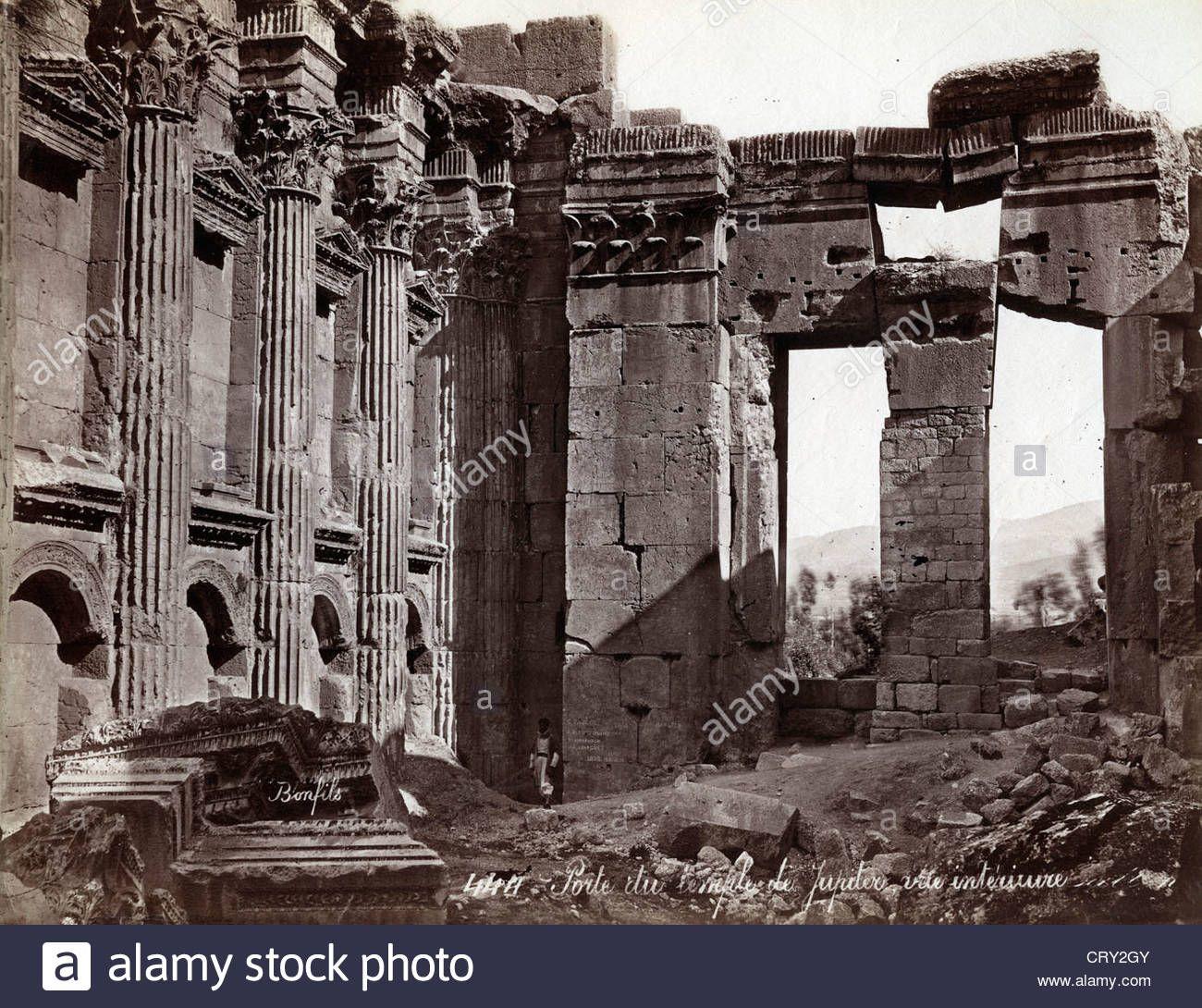 Porte du Temple de Jupiter, Baalbek, Lebanon, ca 1870, by ...