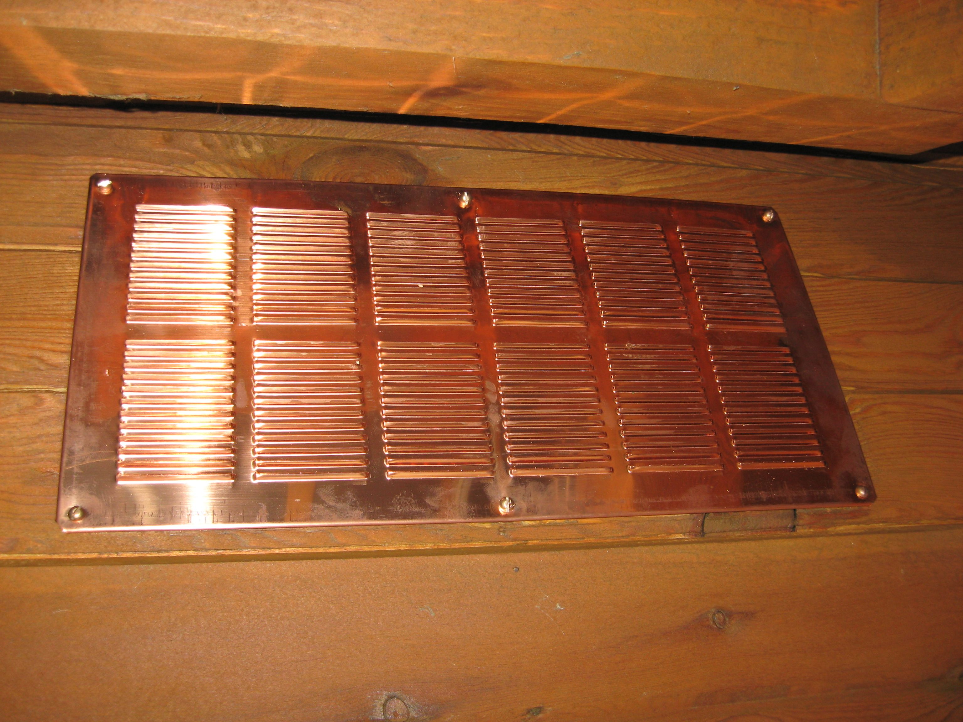 16 Oz Copper Soffit Vent 8 X 16 Inch Installed