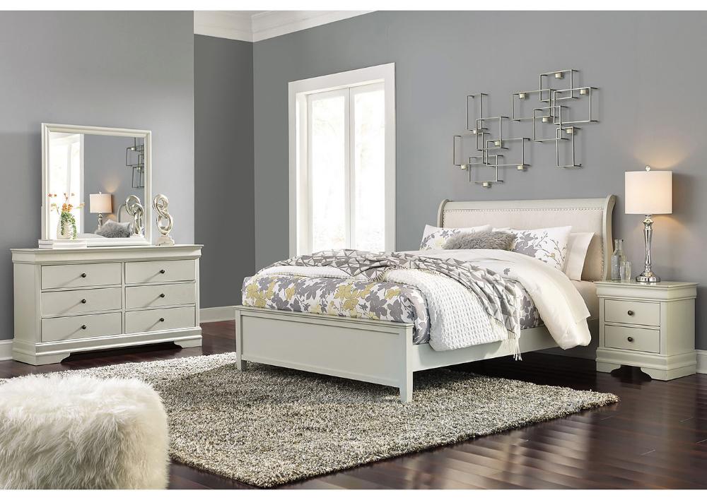 NuLook Furniture Jorstad Gray Upholstered Sleigh