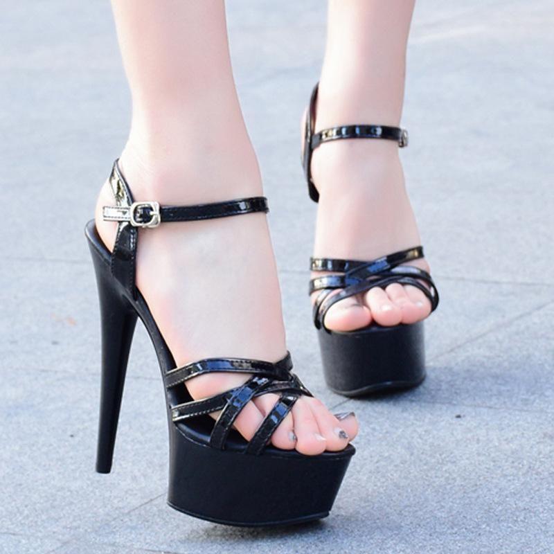 c2b6d6930 12cm Summer Women Sandal Retro platform Super High Thin Heel Party Bar Shoes  Sexy Black Strip Decor Open Toe Non-slip Slide Lady  swimsuits   womensclothing ...