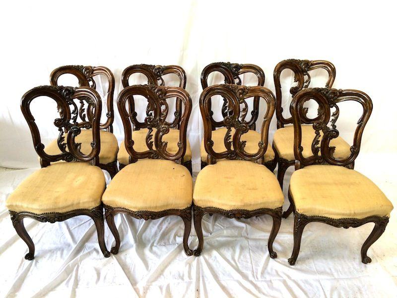 Set 8 Antique Walnut Chairs - Mid Victorian Set Eight Mid Victorian Decorative Walnut Dining Chairs