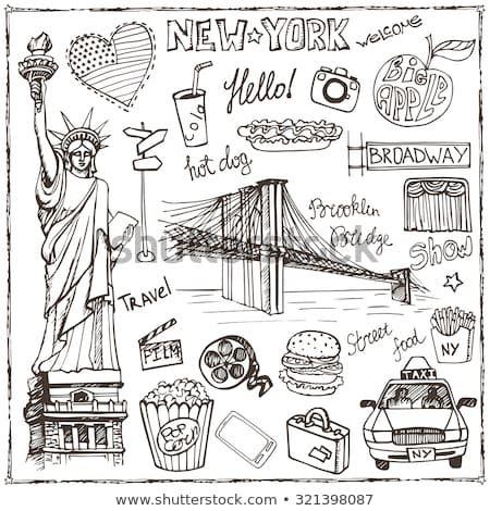 Vector de stock (libre de regalías) sobre New York Doodle set.American,Estados Unidos símbolos321398087