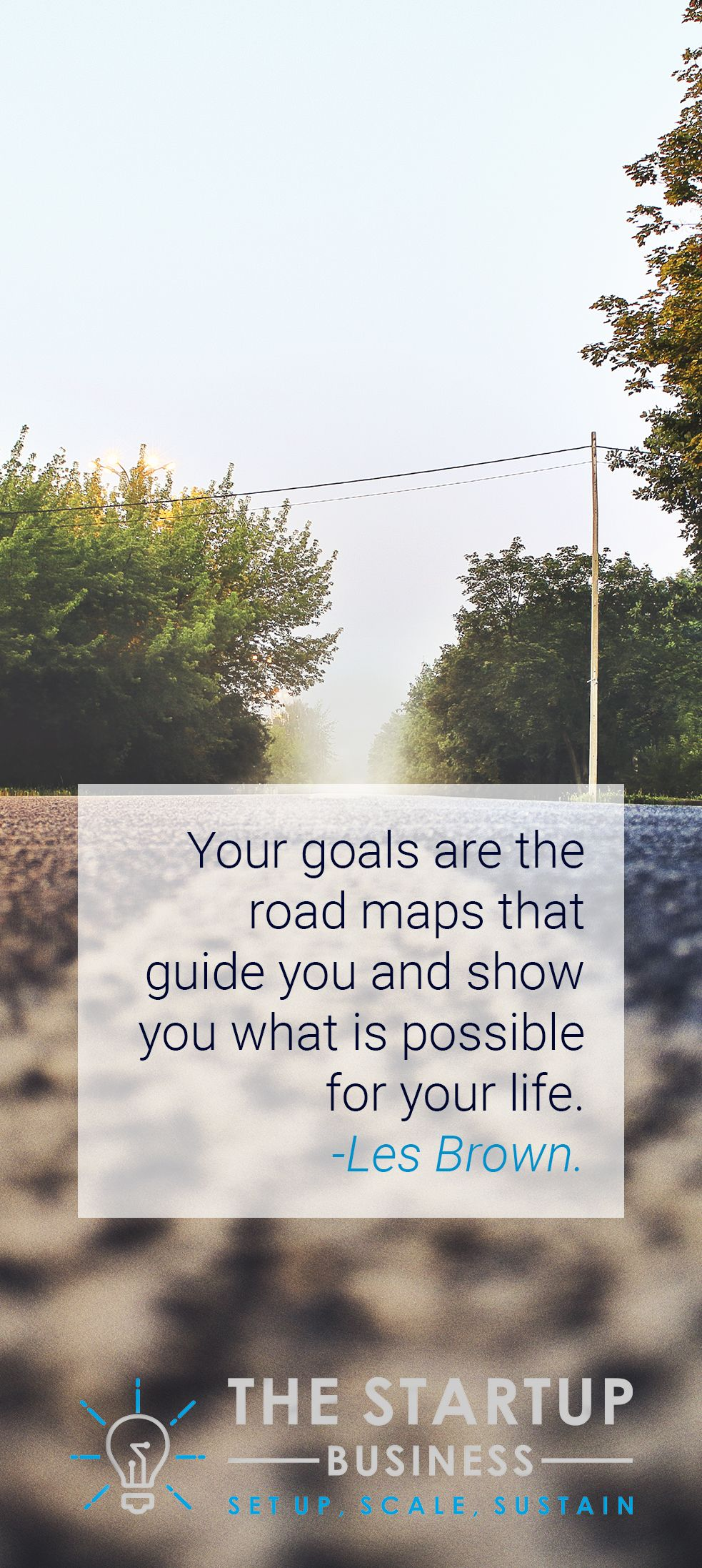 Your goals are the road maps that guide you and show you what is possible for your life. -Les Brown. #TheStartupBusiness #Inspire