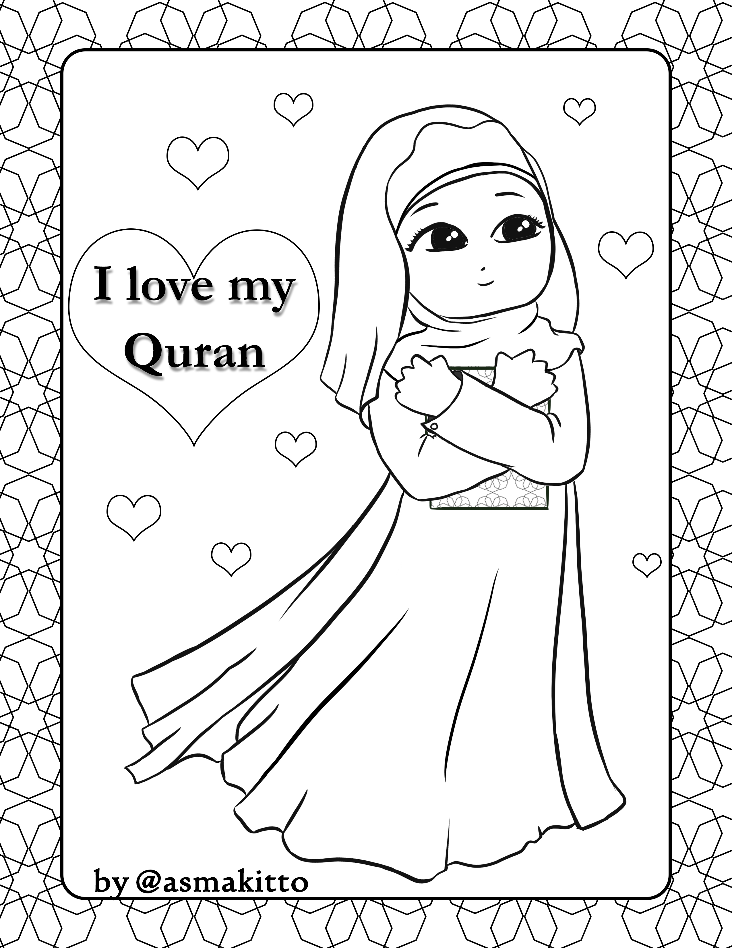 Free coloring page for little Muslim girl, I♥ my Quran