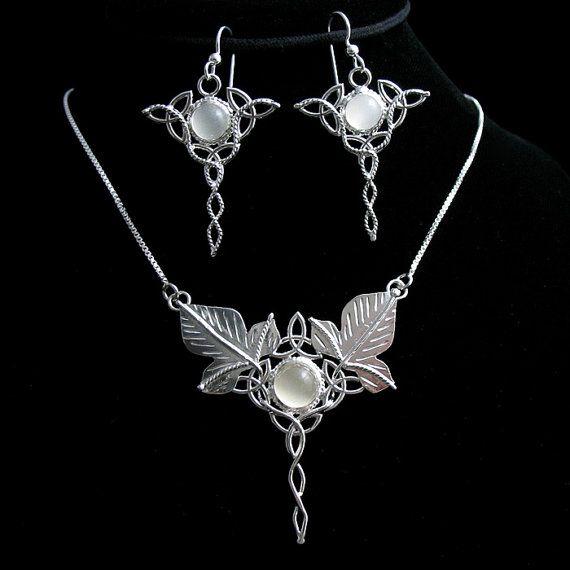 Elvish necklace and matching earring set
