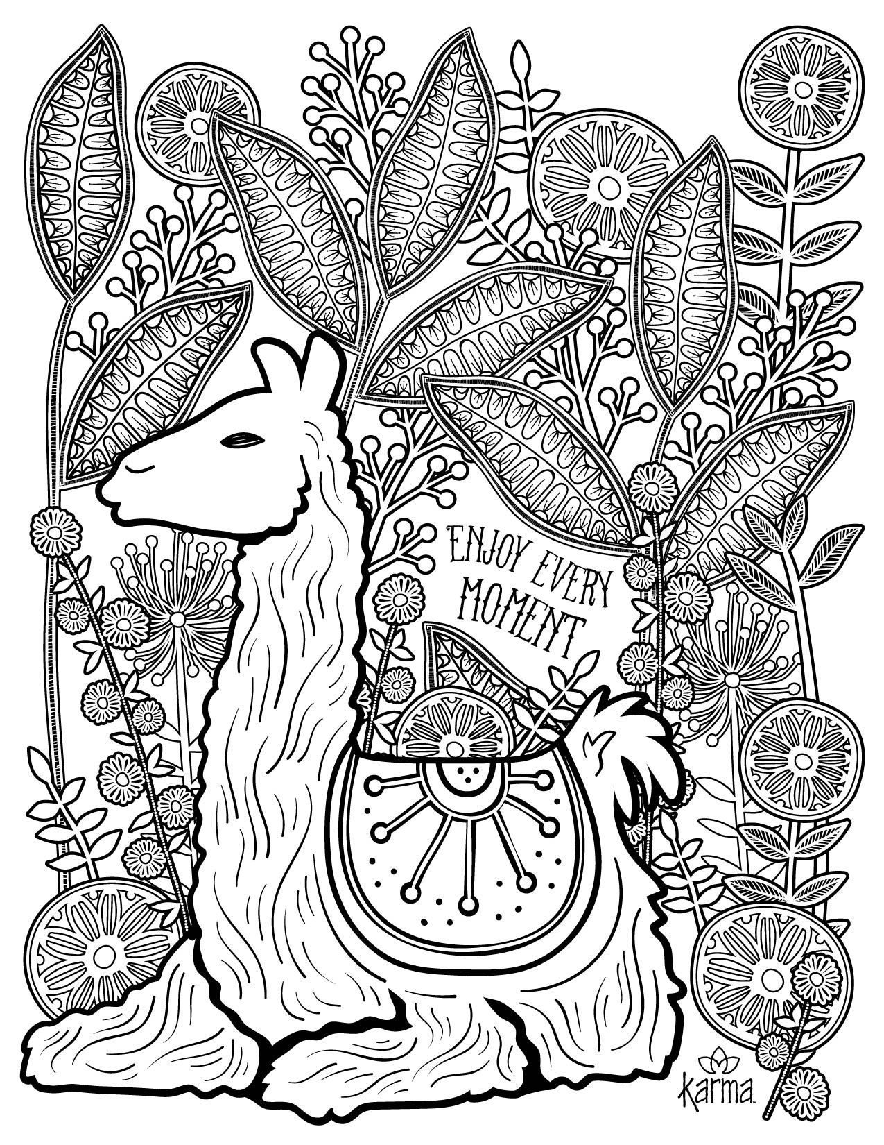 Llama Free And Printable Coloring Page By Karma Ts