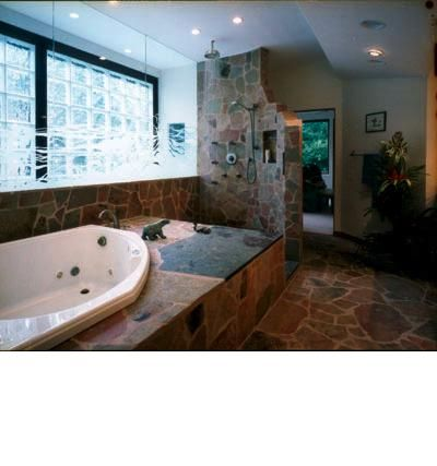 Stone Walk In Shower And Sand Blasted Glass Wall Rod Collins