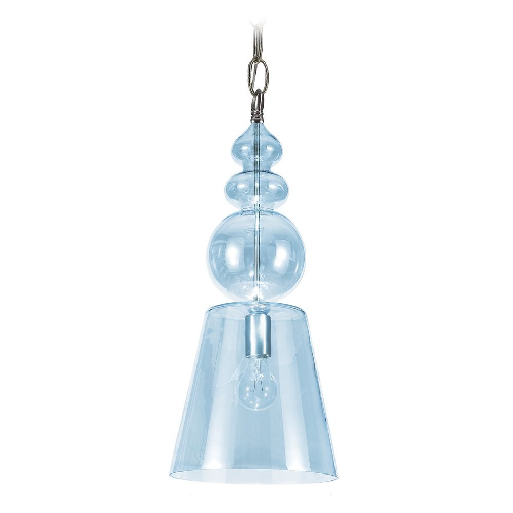 Crystorama Lighting Mini-Pendant Light with Blue Glass in Polished Chrome Finish 9840-CH-IB