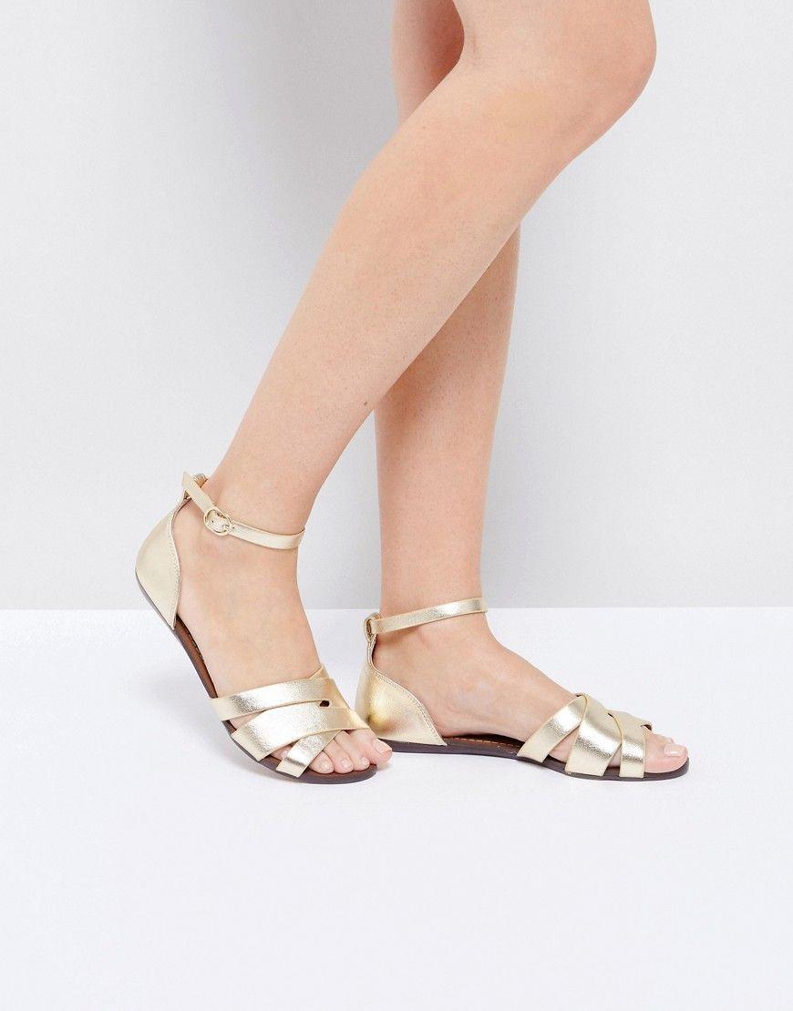 061f3ca5008f56 ALDO Rozie Gold Metallic Anke Strap Flat Sandals - Gold