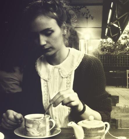 Sibylle Baier having a cup of tea.