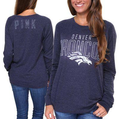 30072f69d Victoria s Secret PINK Denver Broncos Ladies Boyfriend Fleece Sweatshirt -  Navy Blue