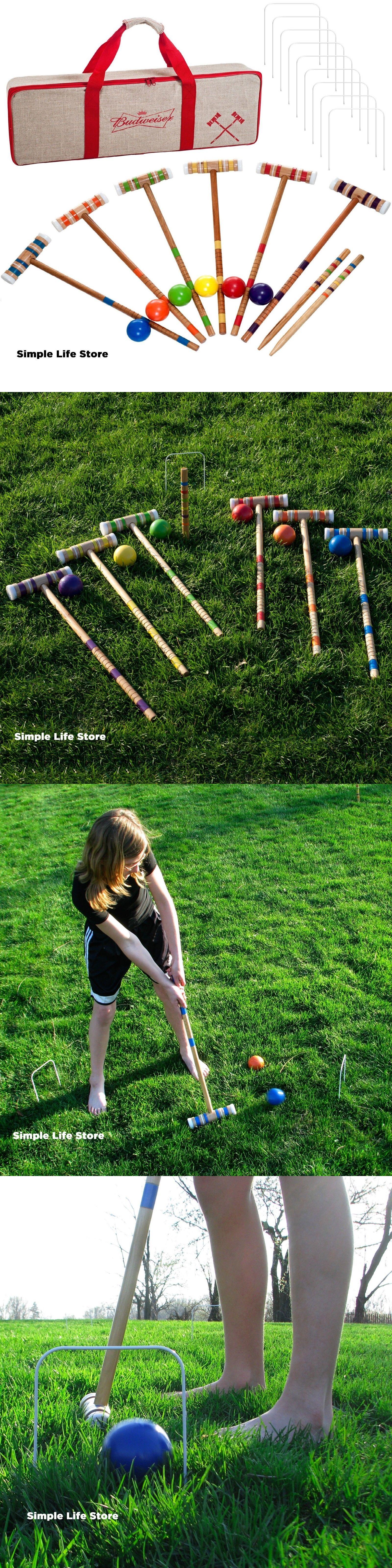 croquet 117210 wooden 24 piece backyard croquet lawn game set