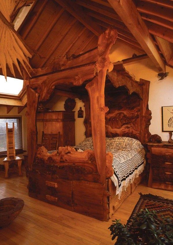 Log Cabin Bed Sets Including Aztec Print Fabric For Oversized Mattress  Cover Alongside Large Oak Bedside