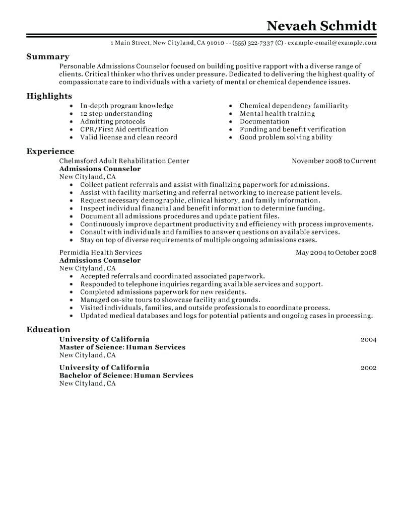 30 Admissions Counselor Resume No Experience In 2020 Admissions