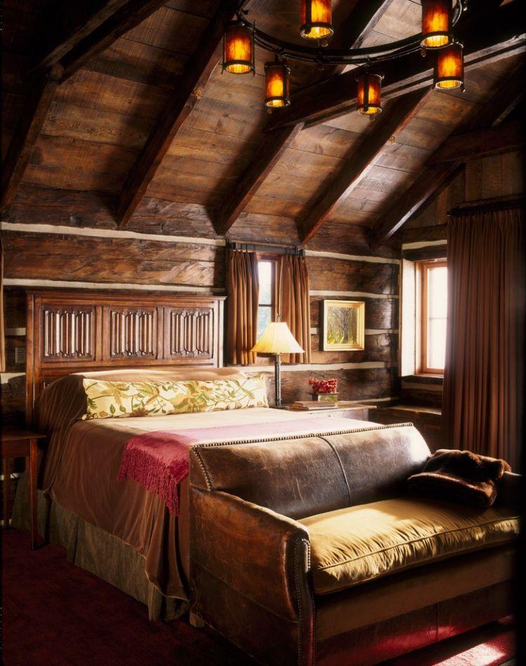 Chambre Coucher Rustique Lustre Fer Murs Bois