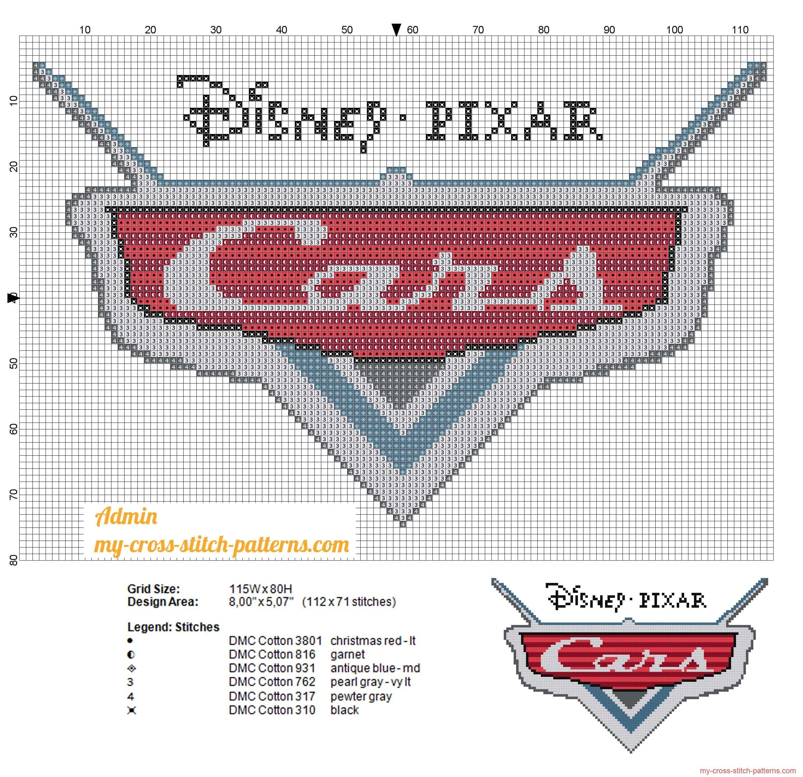 Disney Cars logo cross stitch pattern | Bordado | Pinterest | Punto ...
