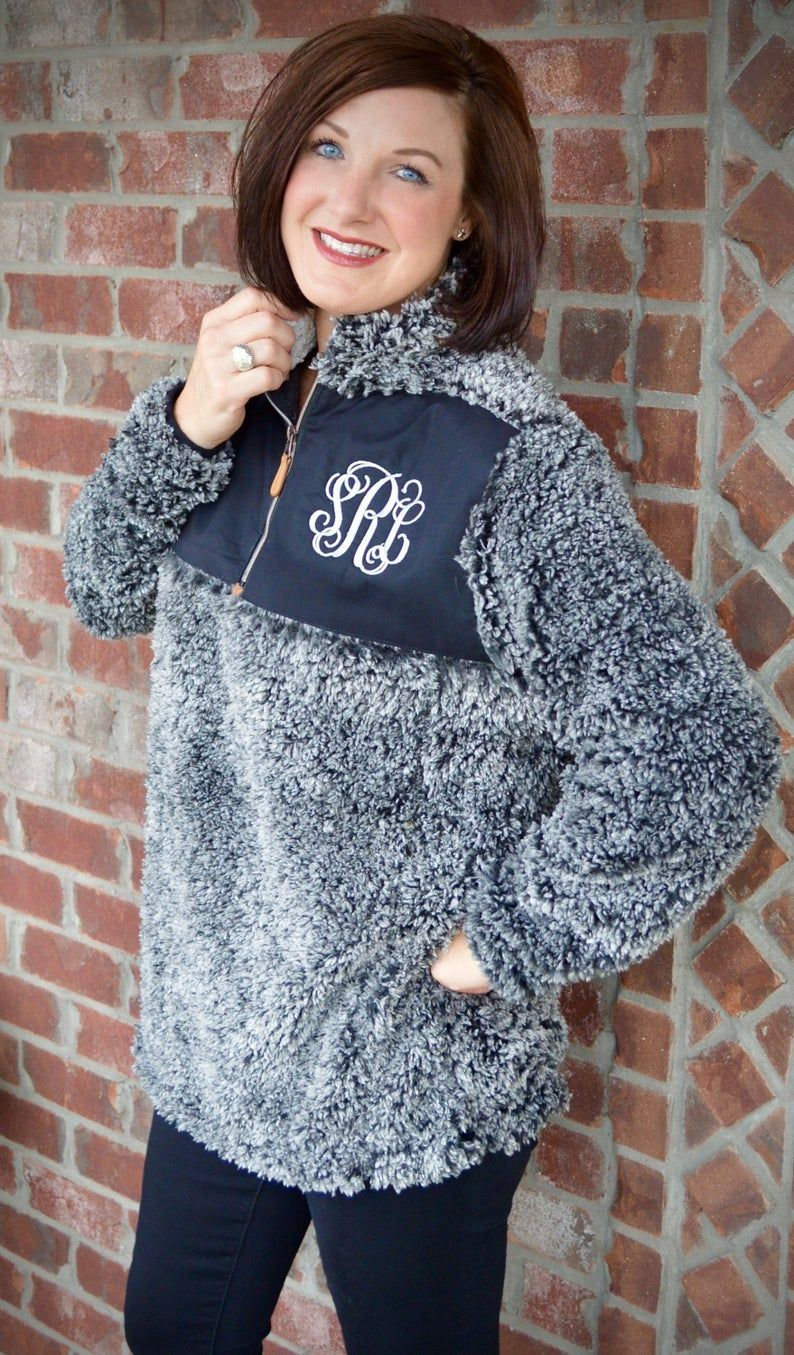 Sherpa monogrammed quarter zip quarter zip monogrammed sweater monogrammed sweatshirt gifts for her Christmas gift