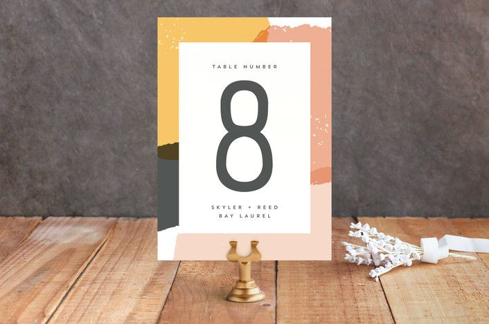 """Brush"" - Abstract, Modern Wedding Table Numbers in Carnation by Allison Cornu."