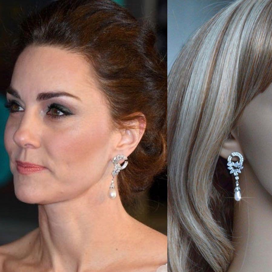 Womens Round Pearl Gold Statement Drop Stud Earrings Jewellery Wedding HA