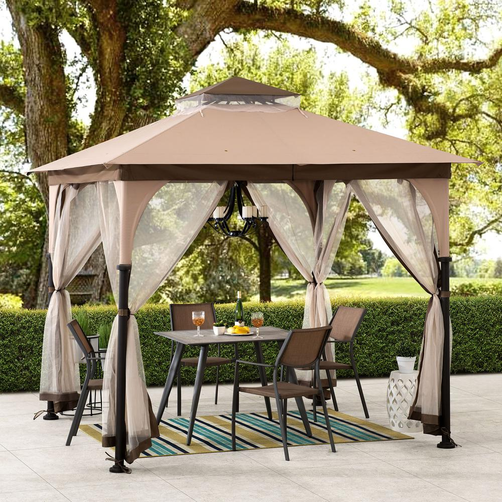 Sunjoy Gianna 8 Ft X 8 Ft Tan And Brown 2 Tone Steel Gazebo With Mosquito Netting A101011100 The Home Depot In 2020 Steel Gazebo Patio Gazebo Gazebo