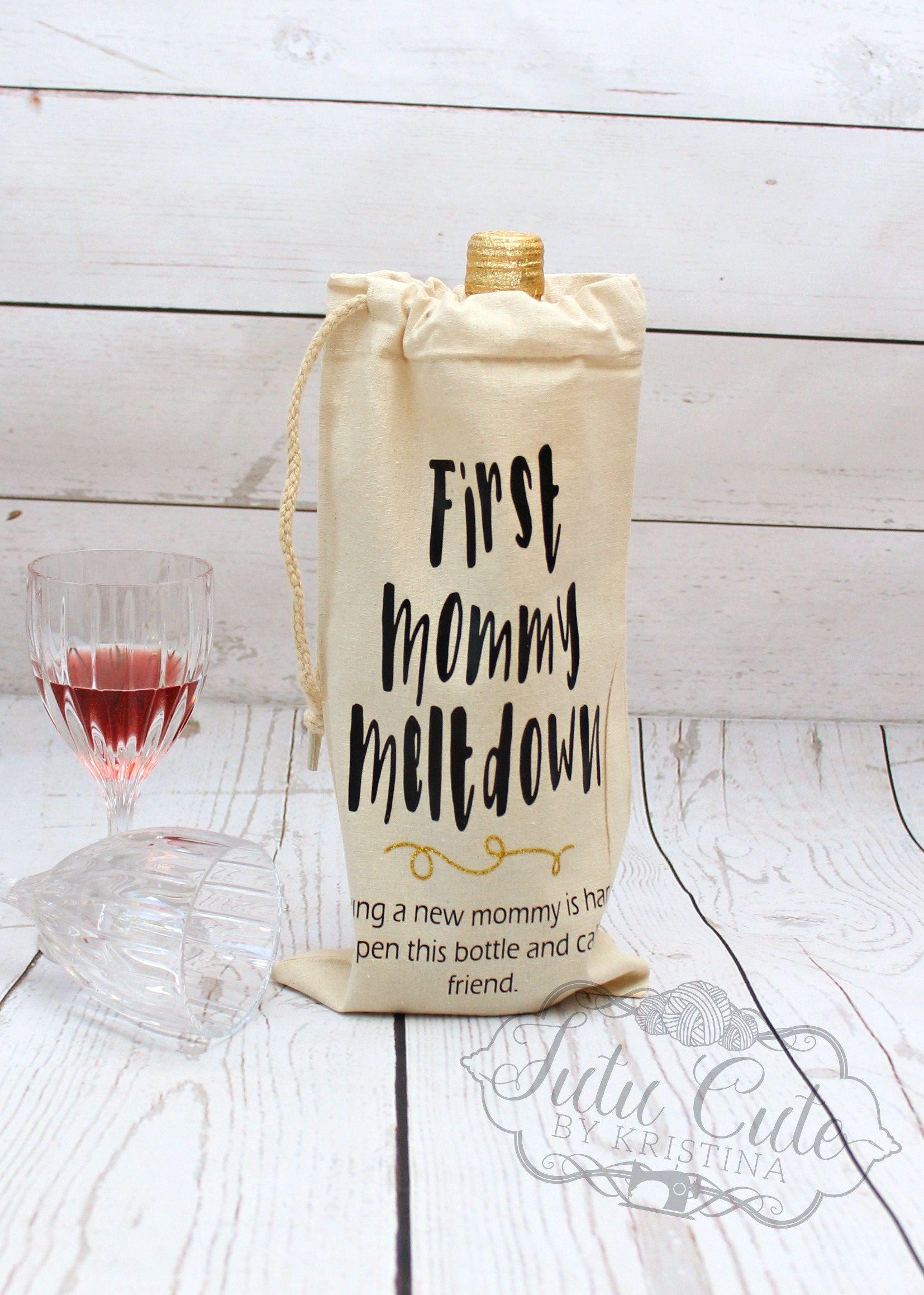 Custom wine bag baby shower gift first mommy meltdown new