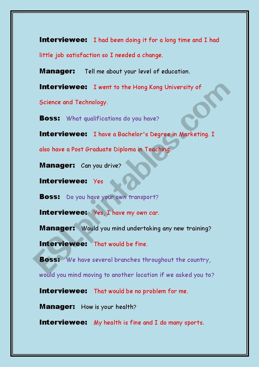 Job Interview Role Play Worksheet Job Interview Role Play Scripts Roleplay [ 1169 x 826 Pixel ]