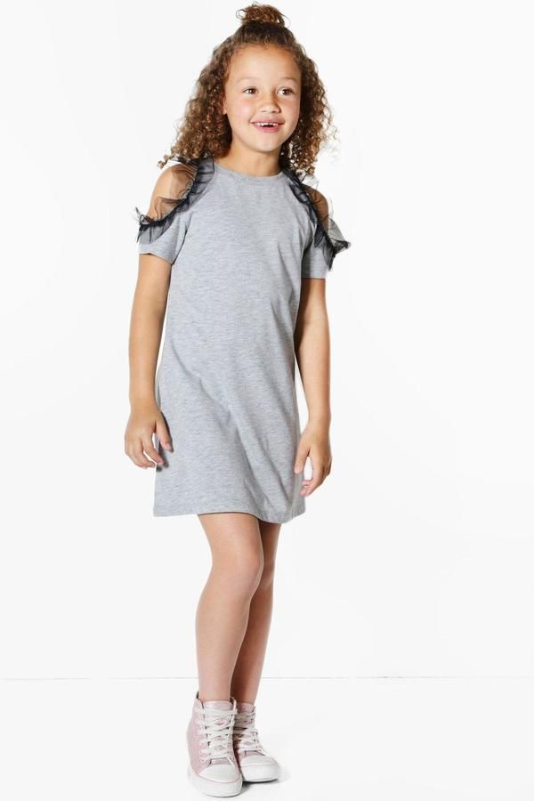26c5e7f261 boohoo Girls Cold Shoulder Ruffle Mesh T-shirt Dress