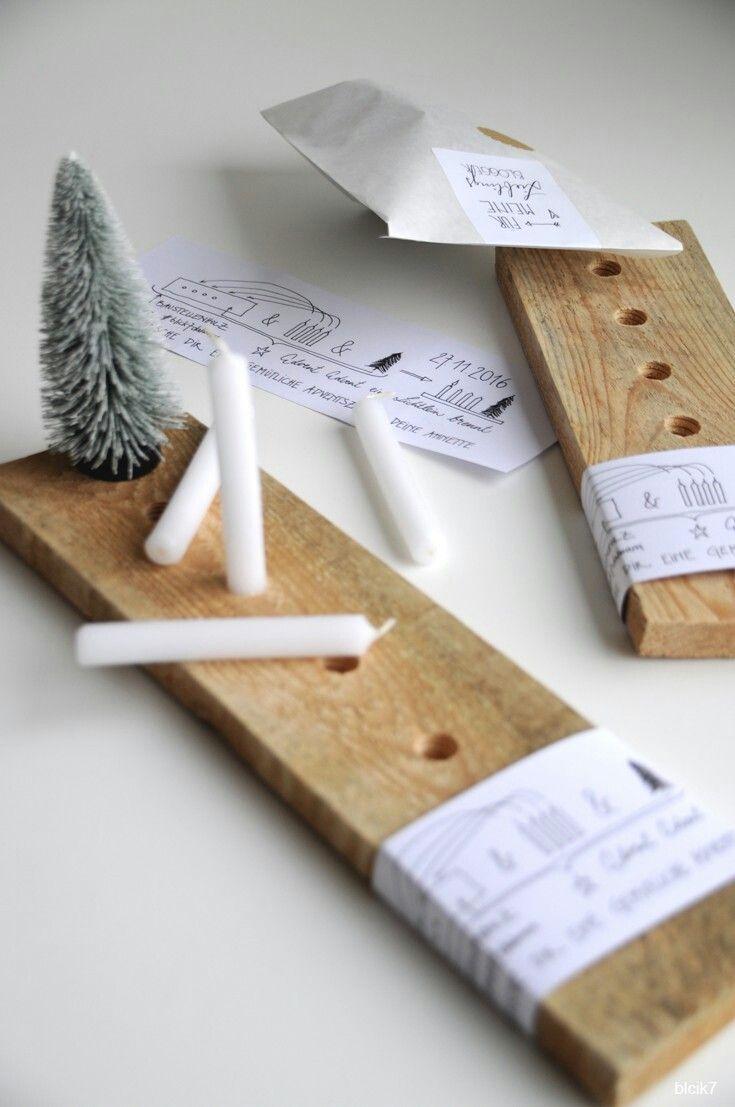 DIY Idee: moderner Adventskranz aus Holz im skandinavischen Stil