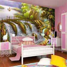 Pink bedroom with painted waterfall mural on wall.