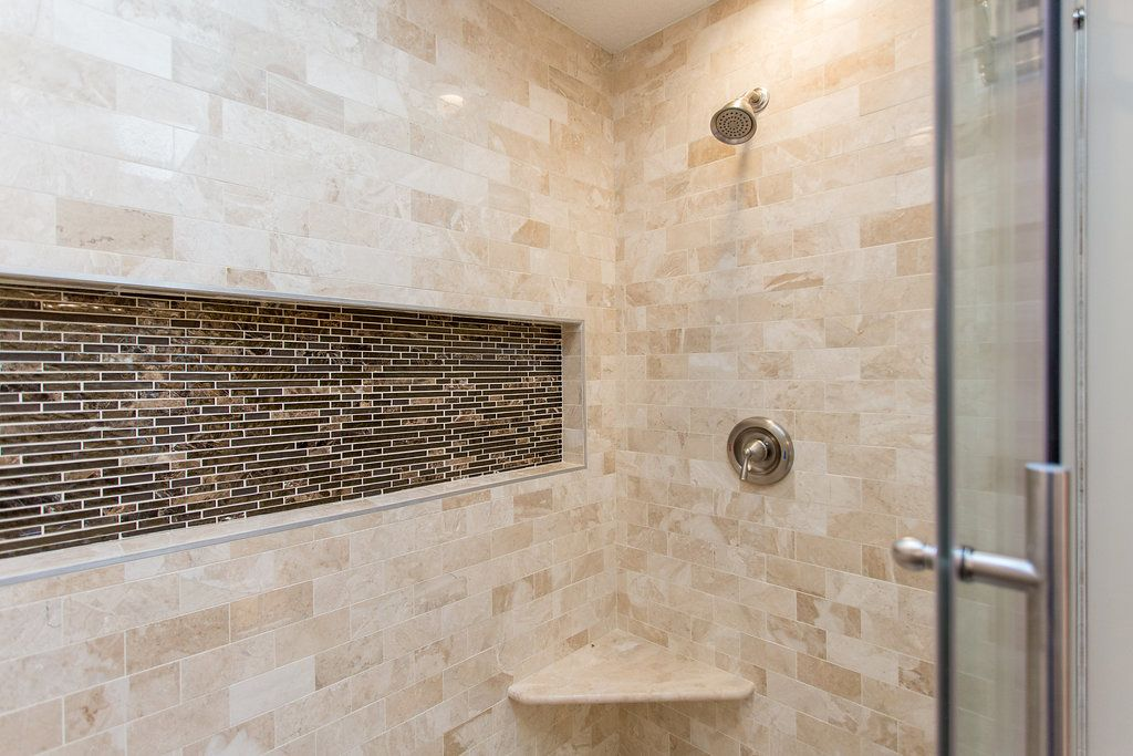 Traditional Neutral Master Bath Bathtub Tile Surround Subway