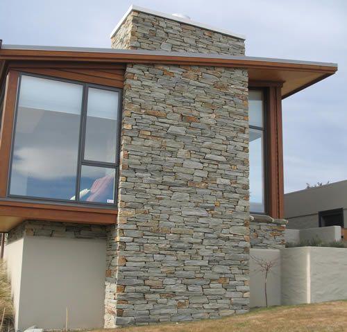 Schist Chimney W Single Slope Roof