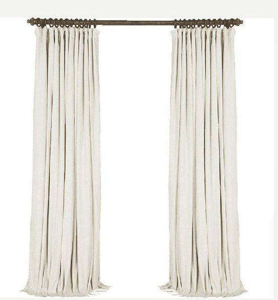 Pair of white velvet curtains bedroom velvet curtains - Off white curtains for living room ...